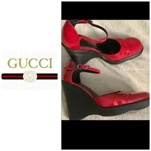 6ea9e9d457e4 Gucci Shoes - 🌼Gucci red wedges with lots of life left.🌼
